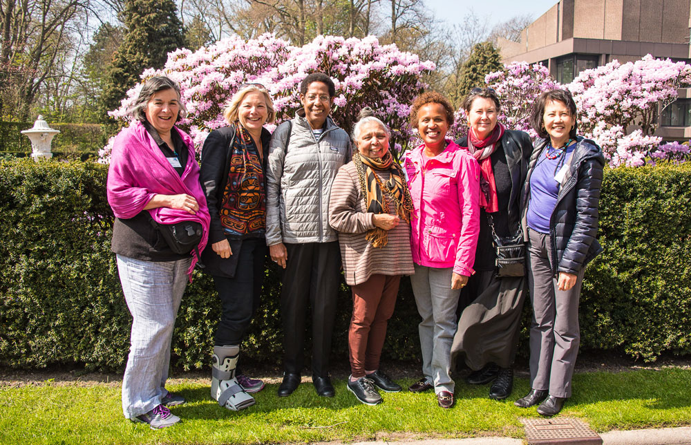 WILPF Canada delegates at The Hague Congress, April 22-25, 2015. Left to right: Rosa Rivera, Susan Bazilli, Noga Gayle, Patsy George, Cleta Brown, Mary Lou McPhedran, and Jo Rekart.